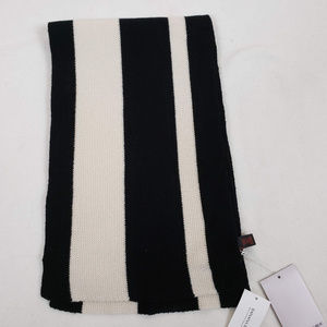 Banana Republic Black and White Striped Wool Scarf